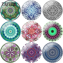 TAFREE Vintage Style Flowered Picture Glass Cabochon Dome Base Cover Pendants 15mm 16mm 18mm 20mm In Dia Beads DIY Accessories