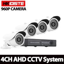 HKISDISTE 4CH CCTV System 960P HDMI AHD DVR 4PCS 1.3 MP IR Night Vision Outdoor Security Camera HD Video Surveillance System
