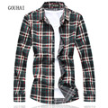 2017 Fashion Mens Plaid Shirt Cotton Top Quality Dress Shirts Men Casual Long Sleeve Shirt Social Men Clothes Plus Size M-7XL