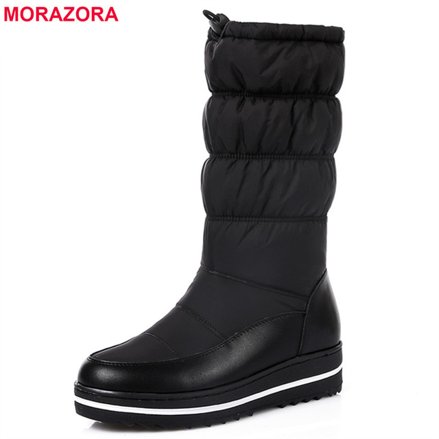 MORAZORA 2018 Nouveau véritable de neige en cuir bottes femmes de fourrure épaisse  chaud vers le bas mi-mollet bottes d hiver bout rond plate-forme ... 5116345db71a