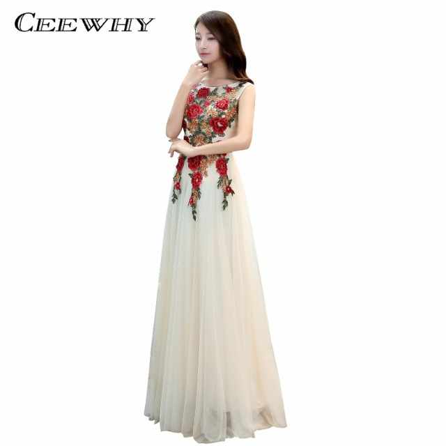 CEEWHY Vestidos Longos de Festa Madrinha Casamento Party Evening Dress Long Embroidery  Plus Size Dress Evening Gowns Prom Dress 5a21f2049033