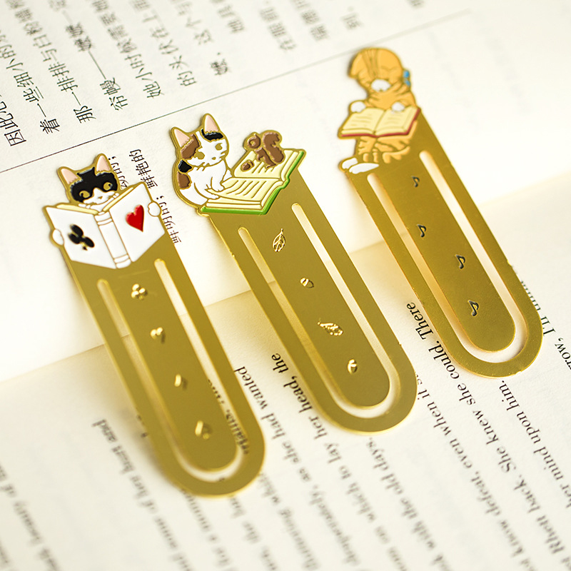 4 Pcs/lot Kawaii Cat Metal Bookmarks Cute Clip Pages Bookmark Cartoon Book Mark Tool School Office Supplies Stationery