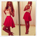 best selling ladies sexy dresses crewneck sleeveless irregular hem elastic waist dress C3004