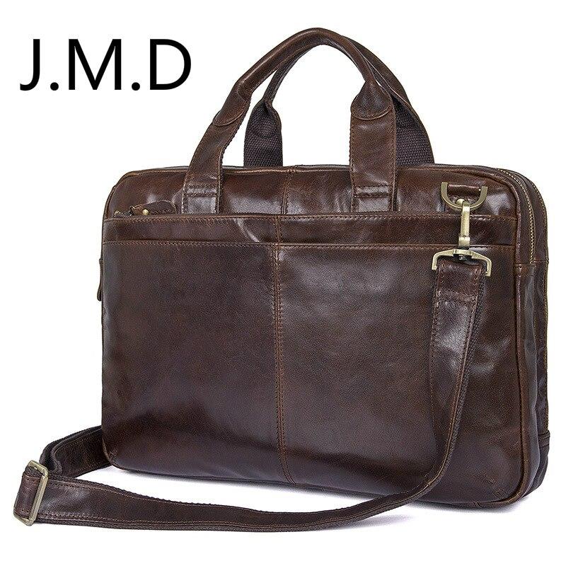 цена на J.M.D 2018 New Arrival 100% Genuine Leather Shoulder Bag Men's Laptop Bag Handbag Briefcase Messenger 4 Color 7092