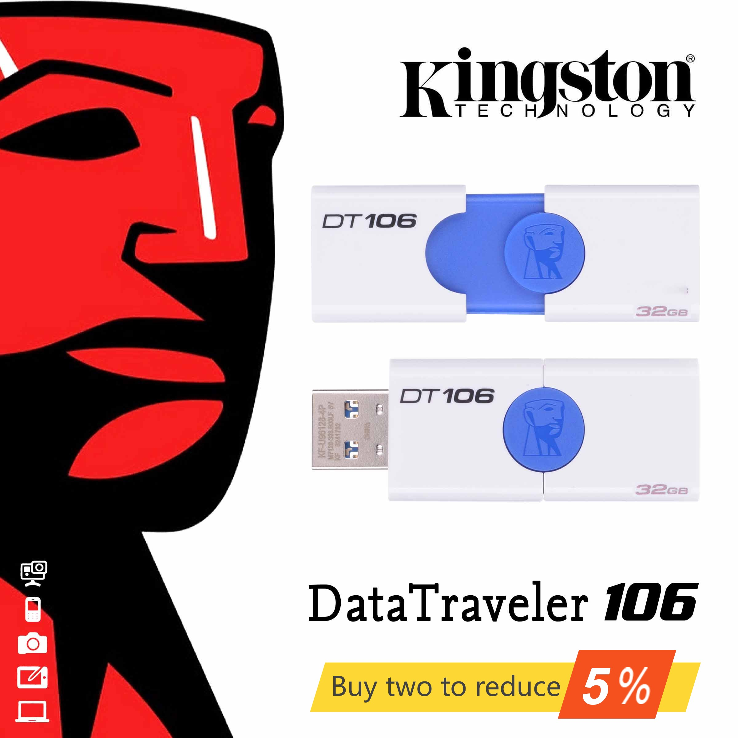 DT106 Original USB 3.0 Kingston DataTraveler 106 USB Flash Drive GB 32 16 GB 64 GB 128 GB U Disco pen Drive Pendrive 16 32 64 128 GB