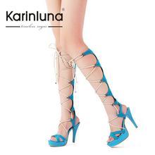 2016 heißer Verkauf Sexy Neue Modeplattform Kniehohe Lace Up frau Sandalen Stiefel Beiläufige Dünne High Heels Roma Stil Sommer Schuhe