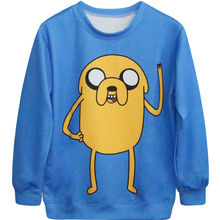 Harajuku 3D Print Adventure Time Finn Jake Sweatshirts Fashion Long sleeve Women Yellow Jake Dog Hoodies Cartoon Hooded Pullover