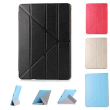 4 Shapes Stand Ultra Thin Silk Smart Case for Apple Air 2 / Air 1 ( 5 / 6 ) PU Leather Cover for