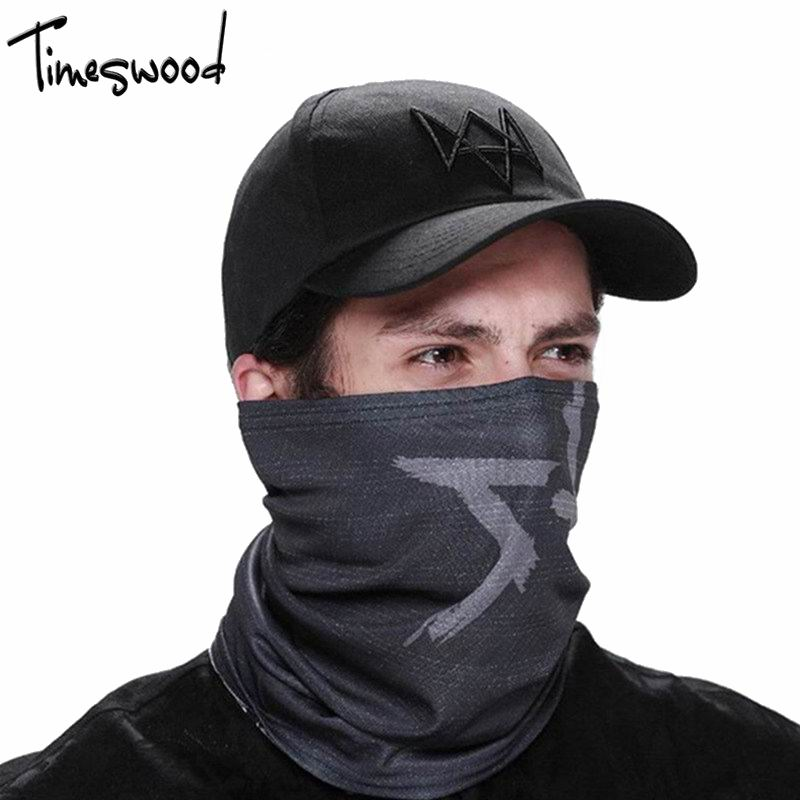 [TIMESWOOD] 2pc/Set Creative Watch Dogs Aiden Face MASK Cap Cotton Hat Costume Cosplay Mask Hat Men Women Tactique Baseball Caps