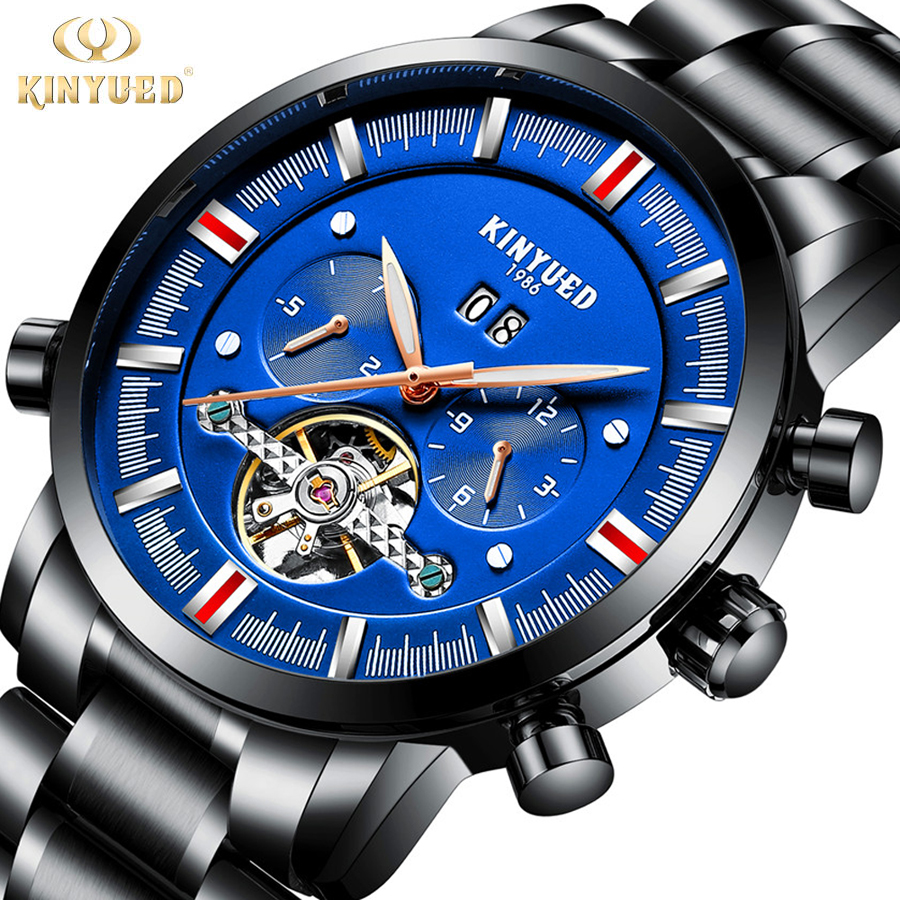 2018 New KINYUED Skeleton Automatic Watch Men Tourbillon Top Brand Men's Mechanical Watches Luxury Luminous Relogios Masculinos new relogio esqueleto winner mens watches luxury sport men s automatic skeleton mechanical military watch relogios masculinos