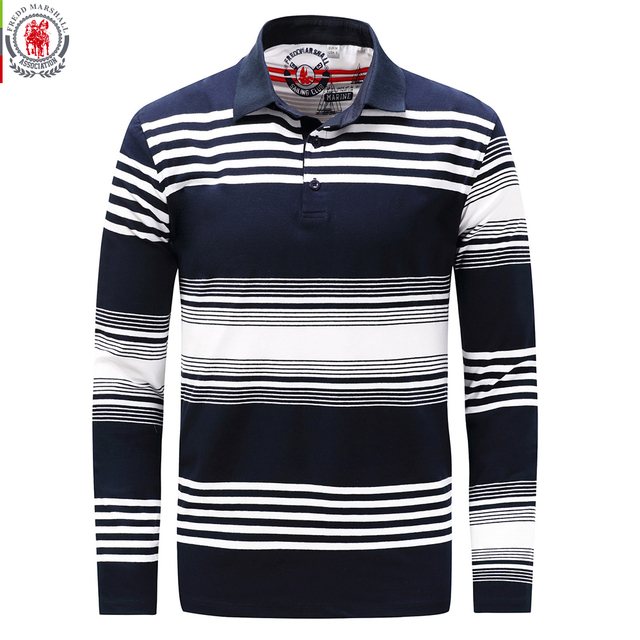 a3e3a3d0 Fredd Marshall 2017 Autumn Mens Striped Polo Shirts Long Sleeve Brands Polo  Shirt 100%Cotton Male Camisas Polo Plus Size 3XL 735