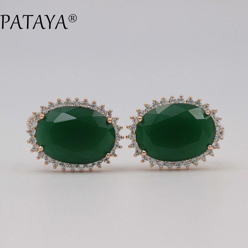 PATAYA New 585 Rose Gold Big Earrings Green Natural Cubic Zirconia Earrings Women Luxury Wedding Jewelry Pink Dangle Earrings