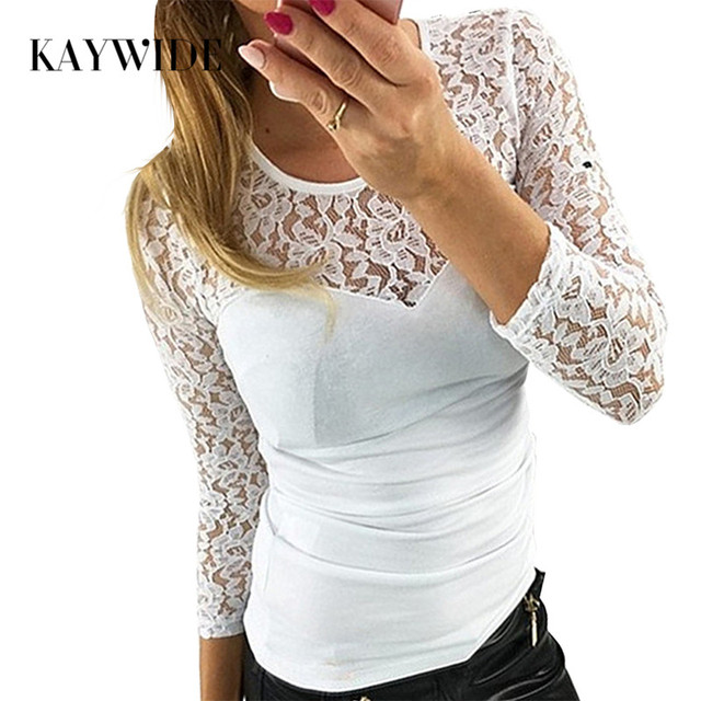 59e5b32bb92 DICLOUD Nouveau Printemps Mode dentelle patchwork t-shirt femmes O cou  moulante blanche Tee tops