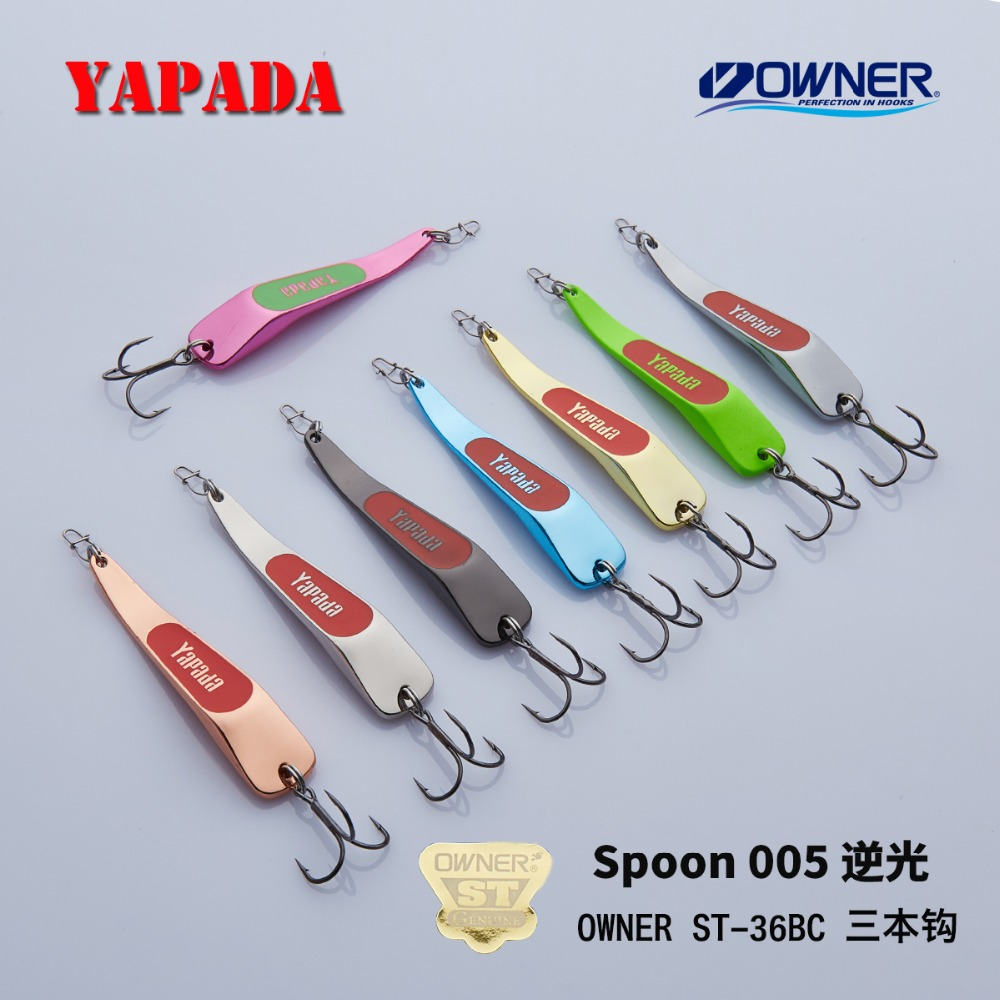 YAPADA Spoon 005 Retroilluminazione 10g / 15g OWNER Treble Hook 59mm / 66mm Feather Multicolor Metal Spoon in lega di zinco Fishing Lures