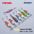 YAPADA Spoon 005 Backlight 10g/15g OWNER Treble Hook 59mm/66mm Feather Multicolor Metal Spoon Zinc alloy Fishing Lures