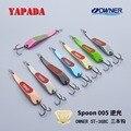 YAPADA cuchara 005 fondo 10g/15g propietario anzuelo triple 59mm/66mm pluma Multicolor de Metal cuchara de aleación de Zinc de Señuelos de Pesca