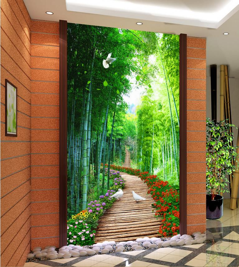 3d nature wallpapers bamboo wooden bridge custom 3d photo for Wallpaper decoration for home