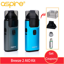 Original Electronic Cigarette Vape Aspire Breeze 2 AIO Kit Built-in 1000mAh Battery vape pod mod & 3ml vs Nautilus kit