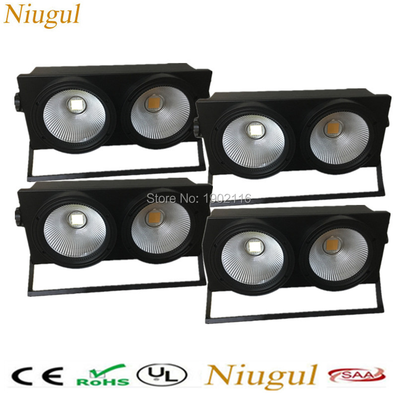 4pcs/lot 2x100W LED COB Blinder Light ,200W LED Audience Light Warm And Cold White DMX512 LED Stage Background Effect Lighting 2pcs lot 2 eyes 2x100w led cob light dmx512 stage lighting effect warm white and cold white 200w led blinder light fast shipping