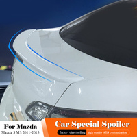 AITWATT For Mazda 3 M3 Rear White Spoiler 2011 2012 2013 2014 2015 ABS Unpainted Color Rear Trunk Wing Lip Spoiler Car Styling
