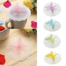 Анти-пыль силиконовая крышка для чашек чашка с изображением бабочки крышка кофейная чашка всасывающее Уплотнение Крышка силиконовая герметичная чашка