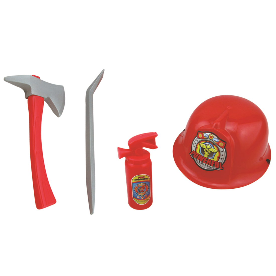Fireman Costume Firefighter Role Play Boys Toy Hat Axe Crowbar Fire