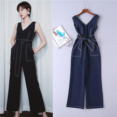 38cddc5017f High Quality 2018 Summer Women Runway Fashion V-neck Stitching Whith ...