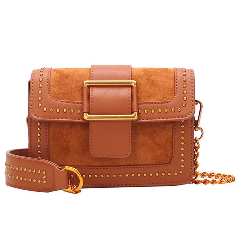 cf7b9775debc Винтажная сумка с клапаном с заклепками Замшевая сумка женская сумка через  плечо женская золотая цепочка ретро