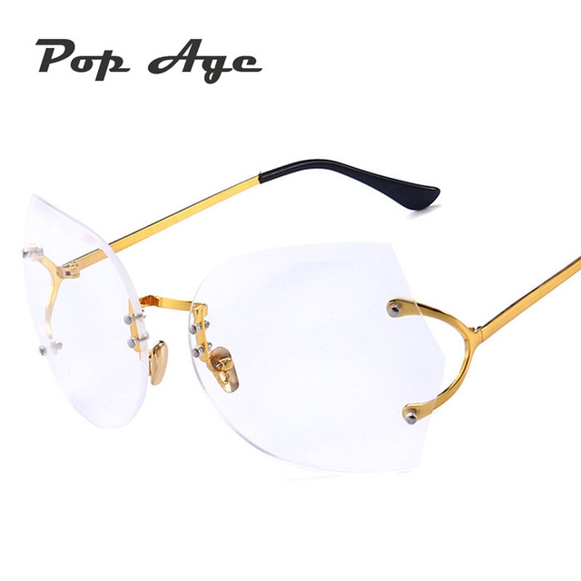 Pop Age New Best quality Rimless glasses Brand Designer Metal Plain ...
