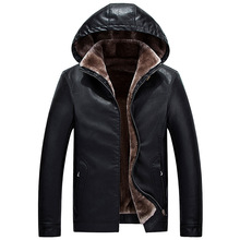 Fashion Winter Jacket Men Thick Velvet Warm Parka Big Size M-4XL PU Leather Hooded Down Coats Casual Outwear Biker Jackets