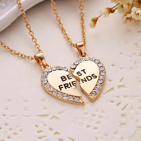 Moda amigo siempre serie dos colores colgante de oro y plara collar mitad y mitad novia hermano pareja venta al por mayor