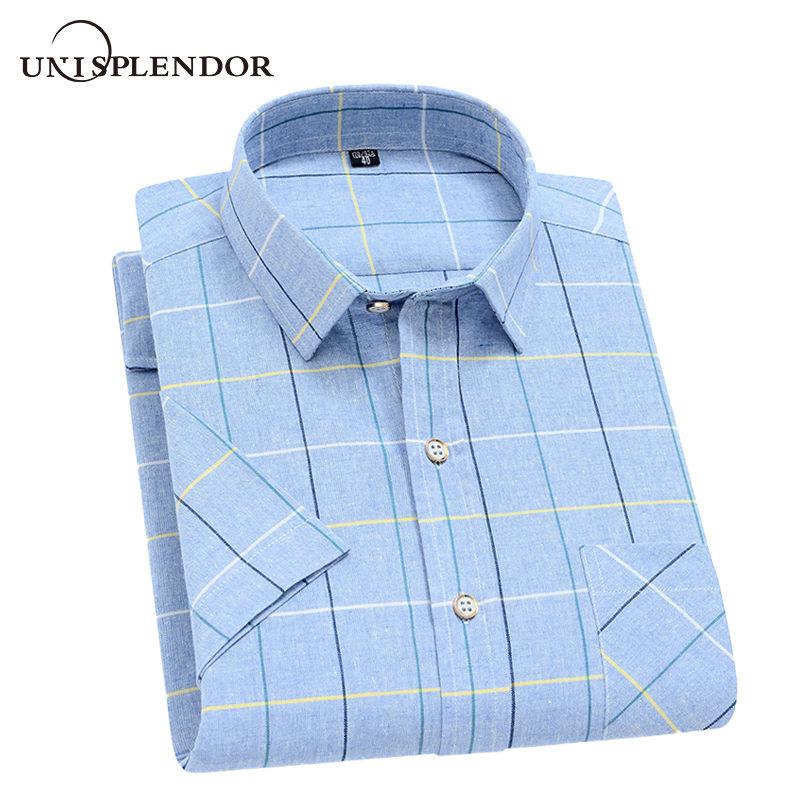 Unisplendor 2020 Summer Men Short Sleeve Shirts Casual Plaid Man Shirt Soft Male Camisa Business Working Shirt Short Top YN10474