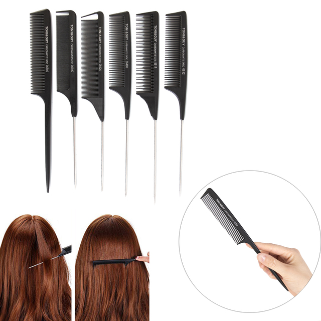 Professional Salon Black Hair Fine-tooth Comb Mental Pin Tail Hairdressing Anti-static Brush Beauty Styling Tools