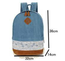 1 piece Floral Lace +Denim Canvas Women Bag Backpack School bag For Teenagers Ladies Girl Back Pack Schoolbag Bagpack Mochila