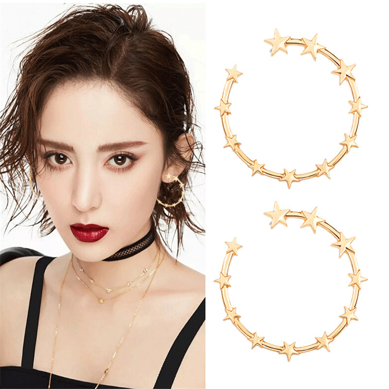 creative big circle star stud earrings for women silver gold color exaggerated personality stud earrings womens fashion jewelry