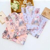 Free shipping Cotton Yukata Japanese Kimono Men Pajamas Sleepwear Mens Cotton Kimono Robe and Pants 121404