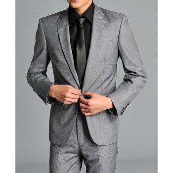 新しいリアル男性スーツ新しいメンズファッションフォーマルワンボトン高品質春スリムフィットスーツジャケットパンツ結婚式グレー(ジャケット+パンツ)