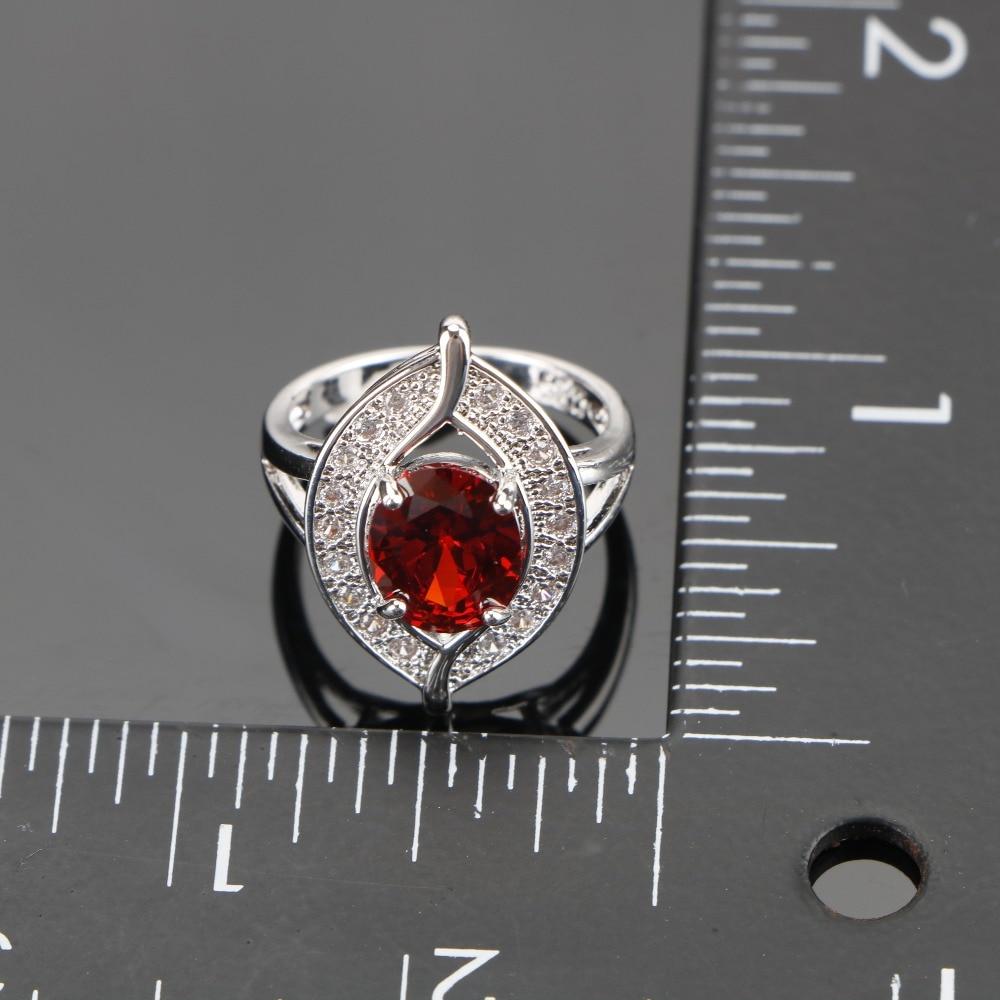 Ladies Trendy Bridal Jewelry Sets Red CZ Silver Wedding Bracelet