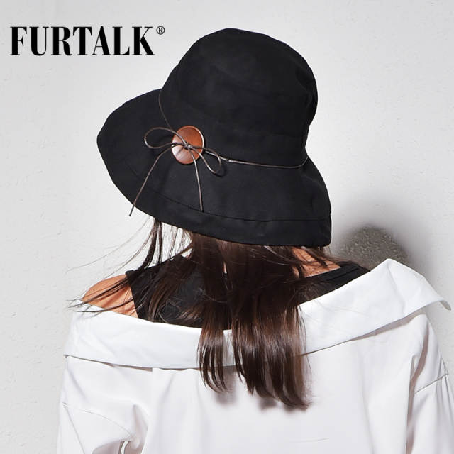 8004008df3a Online Shop FURTALK Women Men Bucket Hat for Fishing Beach Cotton Hat  Summer Hats for Women Fashion Design Foldable Brimmed