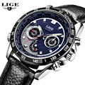 LIGE Watch Men Multifunction Date Luminous Quartz-Watch Mens Watches Top Brand Luxury Sport Leather Wristwatch relogio masculino