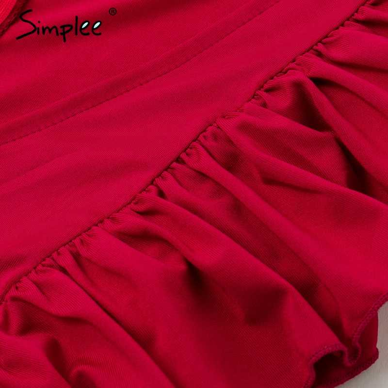 Летнее женское длинное платье Simplee, с разрезом и рюшами 2019, плиссированное красное, темно-синее, серое платье макси с О-образным вырезом, женское вечернее платье