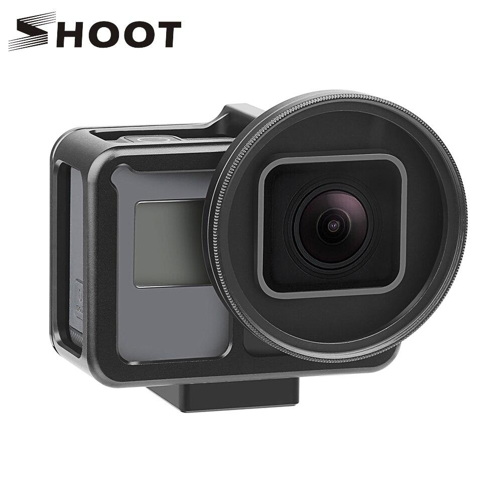 Disparar CNC de aleación de aluminio de protección caso jaula de montaje para GoPro héroe 7 6 5 negro con 52mm lente UV para ir Pro Hero 7 6 5