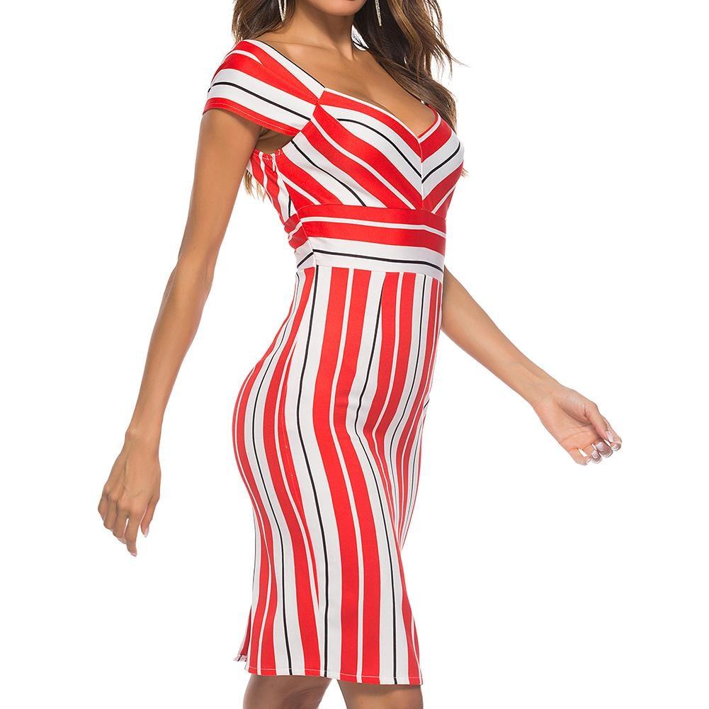 Summer Women Fashion Dress Striped Piecing V Neck Vintage Bodycon Dress Cap Sleeve Sexy Dress Female