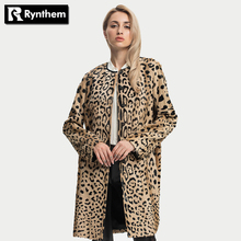 Rythme De Luxe Femmes De Mode D'agneau Manteaux De Fourrure Peau de Mouton O-cou Longue Plus La Taille Léopard Manteaux Veste Cardigan Nouveau Limitée