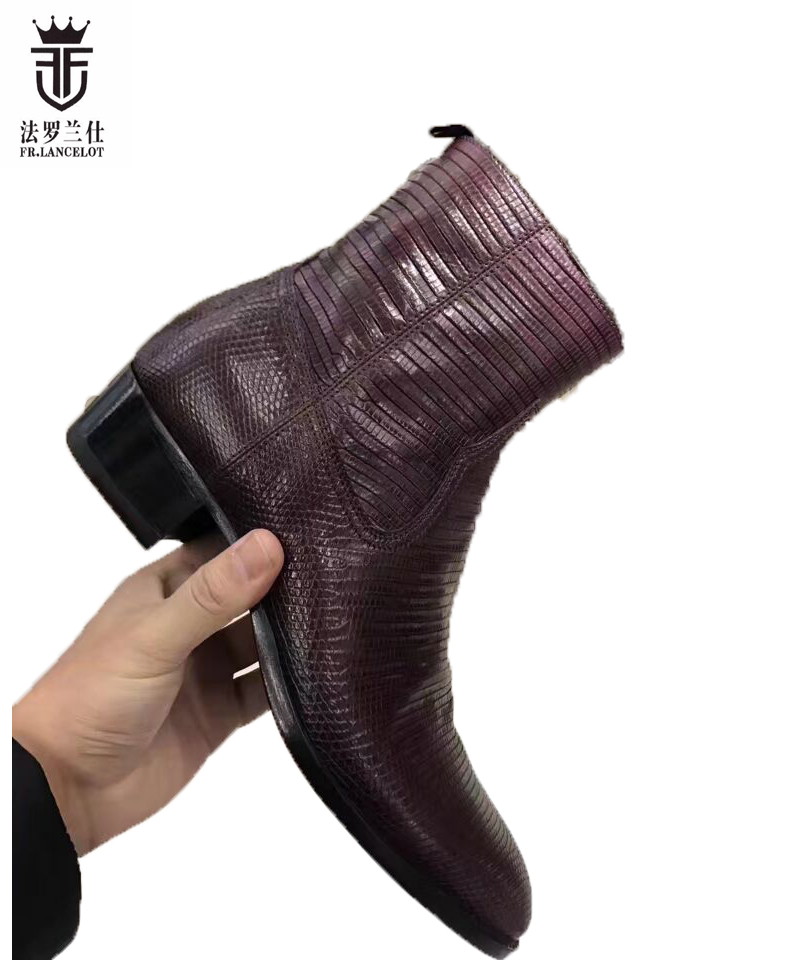 FR.LANCELOT 2018 new wine red boots men real leather boots snake skin print leather ankle shoes high top zip up men party boots fr lancelot 2018 new arrival star boots men real leather boots glitter sequin leather booties zip up men party shoes
