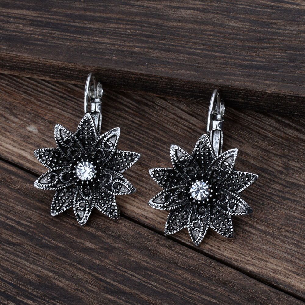 MYTHIC AGE Tibetan Silver Color Carved Flower Vintage Ethnic Drop Dangle Earrings Retail Jewelry Jewellery Gift For Women Girls 16