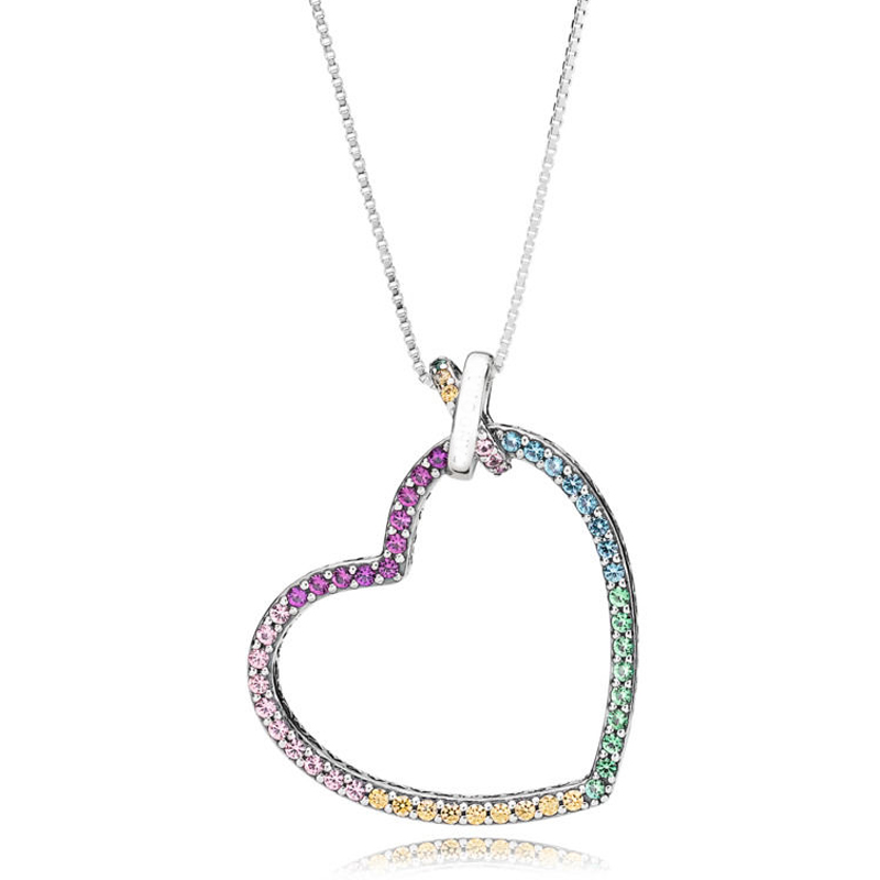 New 925 Sterling Silver Necklace Rainbow Heart With Adjustable Sliding Clasp Necklace For Women Wedding Gift Pandora Jewelry ayowei heart shaped 925 sterling silver rainbow zircon pendant necklace wedding gift sp75a