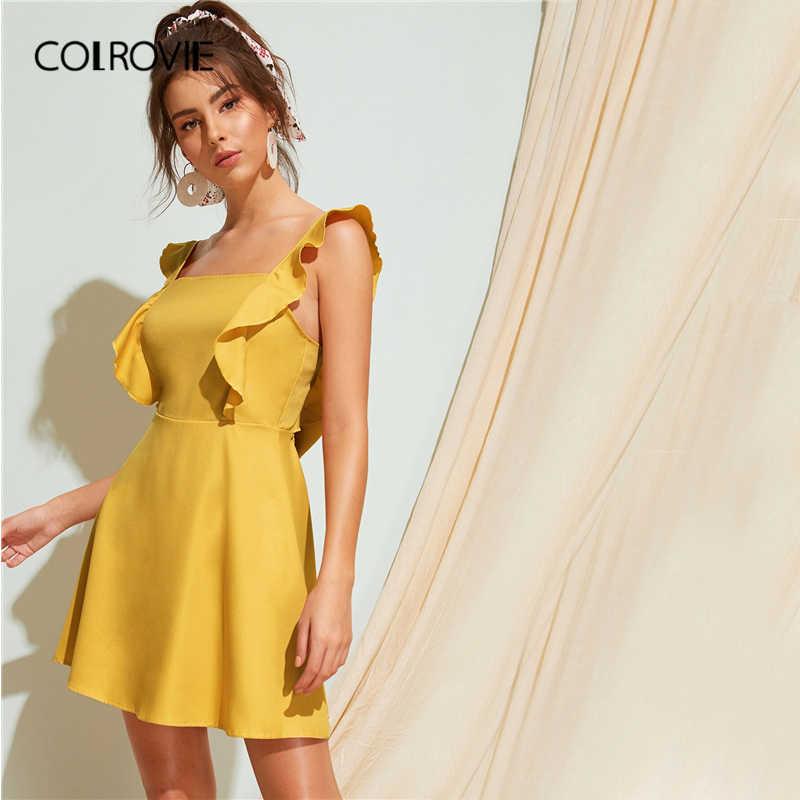 COLROVIE 黄色スクエアネックフリルネクタイバックドレス女性 2019 夏キャップスリーブバックレスホリデーパーティーミニセクシーなドレス