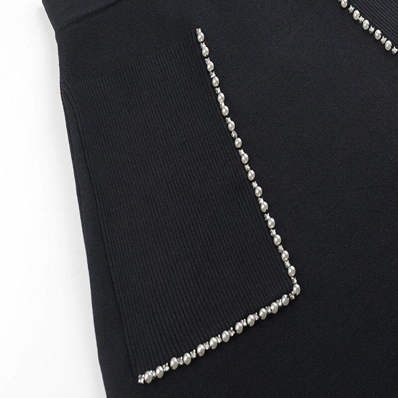 Black Cuentas Pista Cintura Punto Nuevas 2019 Falda De Sruilee Diseño Mujeres Femme Alta Bolsillos Mini Fondo Las Retro HwvT6