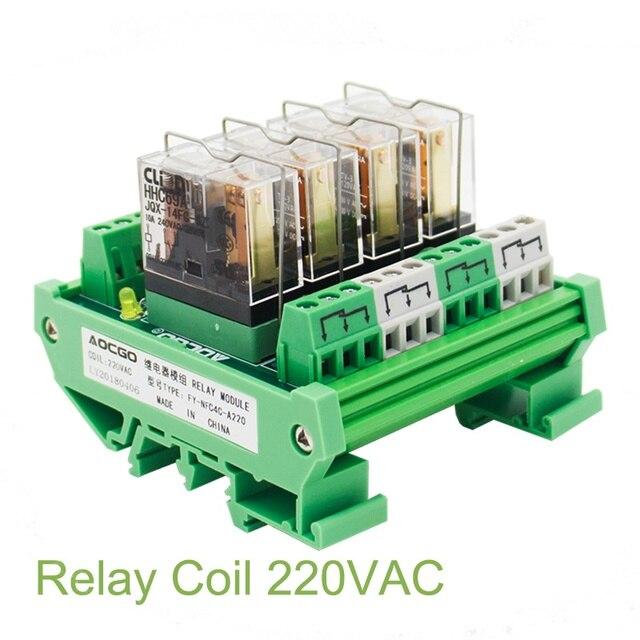 4 채널 1 SPDT DIN 레일 장착 220VAC 인터페이스 릴레이 모듈